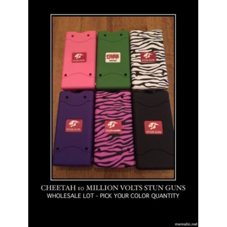 Wholesale lot of 100 Cheetah Stun Gun 10 Mil Volts W/ LED Light 6 Colors Mix - Wholesale