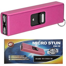 Cheetah Pink Micro USB 3.5 Million Volt Self Defense Rechargeable Stun Gun Flashlight Combo with Key Chain