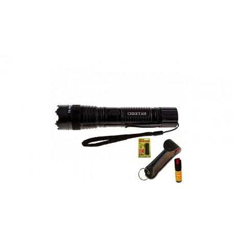 Cheetah Black Stun Gun Combo 10 Mill Volt Rechargeable LED Flashlight W/ Pepper Spray
