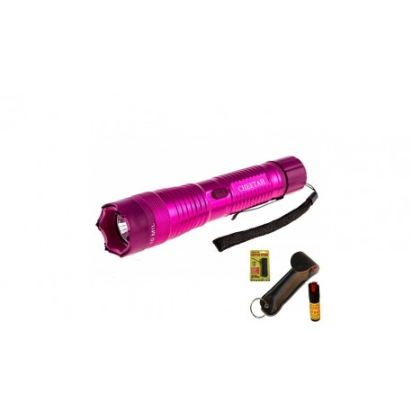 Cheetah 10 Mill Volts Flashlight Stun Gun W Pepper Spray Combo Deal