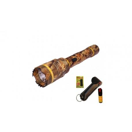 Defender Cheetah 10M Volts Flashlight Stungun Camo W/ Pepper Spray