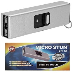 Cheetah Silver Micro USB 3.5 Million Volt Self Defense Rechargeable Stun Gun Flashlight Combo with Key Chain