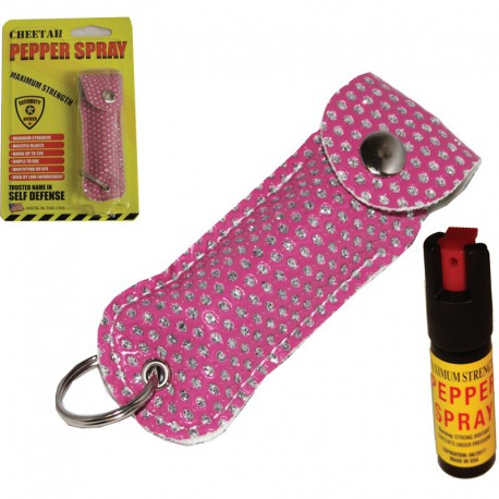 CHEETAH PEPPER SPRAY PINK BLING